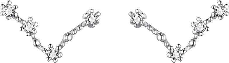 BriLove Women 925 Sterling Silver CZ Horoscope Zodiac 12 Constellation Astrology Ear Crawler Post Earrings