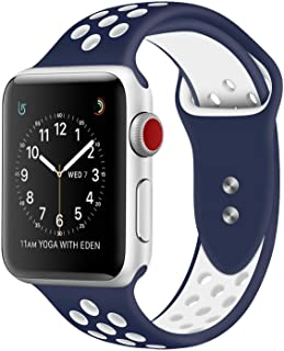 RDX Compatible Sport Band Apple Watch 42mm 44mm Silicone Strap Replacement Wristband iWatch Series 4/3/2/1 Nike- S/M - (Bl...