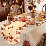 ◆Thanksgiving table runner 15 x 67inch ◆Fall leaf table runner made of maple leaves, embroidery and eye-catching openwork, dress your fall decorations ◆Perfect decorations for your thankgiving decoration, friendsgiving, fall, dinner parties, rustic w...