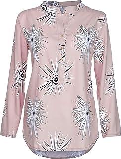 Langarmshirt Damen Bluse FGHYH Plus Size Frauen Langarm Kaftan Baggy Button Baumwolle Leinen Casual Tunika Bluse