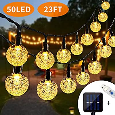 Lamantt Solar String Lights Warm White 7M 50 LED Bulb Fairy Lights String Fairy Lights with 8 Lighting Modes LEDs Fairy Lights for Indoor Outdoor Party Living Room Bedroom Garden