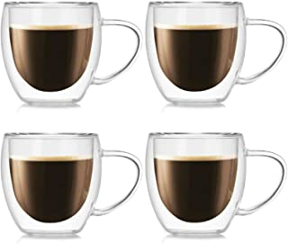 Coffee Mugs Set of 4(8oz,250ml) - Double Wall Insulated Glass Mugs with Handle,Everyday Coffee Gl Cups Perfect for Espress...