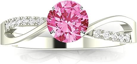 Elegant Twisting Split Shank Diamond Engagement Ring with a 1 Carat Pink Sapphire Heirloom Quality Center