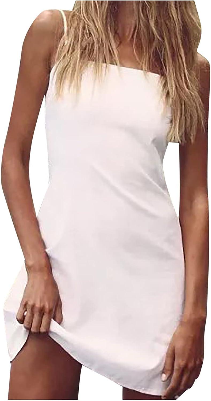 lcziwo Women's Slim Fit Mini Dress Sexy Cute Bow Backless Dresses Casual Sleeveless Spaghetti Strap Short Dress