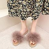 Perferct Zapatillas De Estar por Casa Mujer Invierno,Las Mujeres Usan 2021 Viernes Furry Furry Fully Floy-Floothed Flobs, Estilo De Hadas Sandalias Peludas Suaves Y Zapatillas, Zapatillas De Playa-