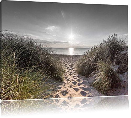 Pixxprint der Weg ins Meer als Leinwandbild | Größe: 100x70 | Wandbild| Kunstdruck | fertig bespannt