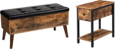 HOOBRO Side Table and Storage Bench Bundle, 2-Tier Nightstand with Drawer, Narrow End Table for Small Spaces, Flip Top Entryway Bench Seat with Safety Hinge, Storage Chest, Rustic Brown and Black