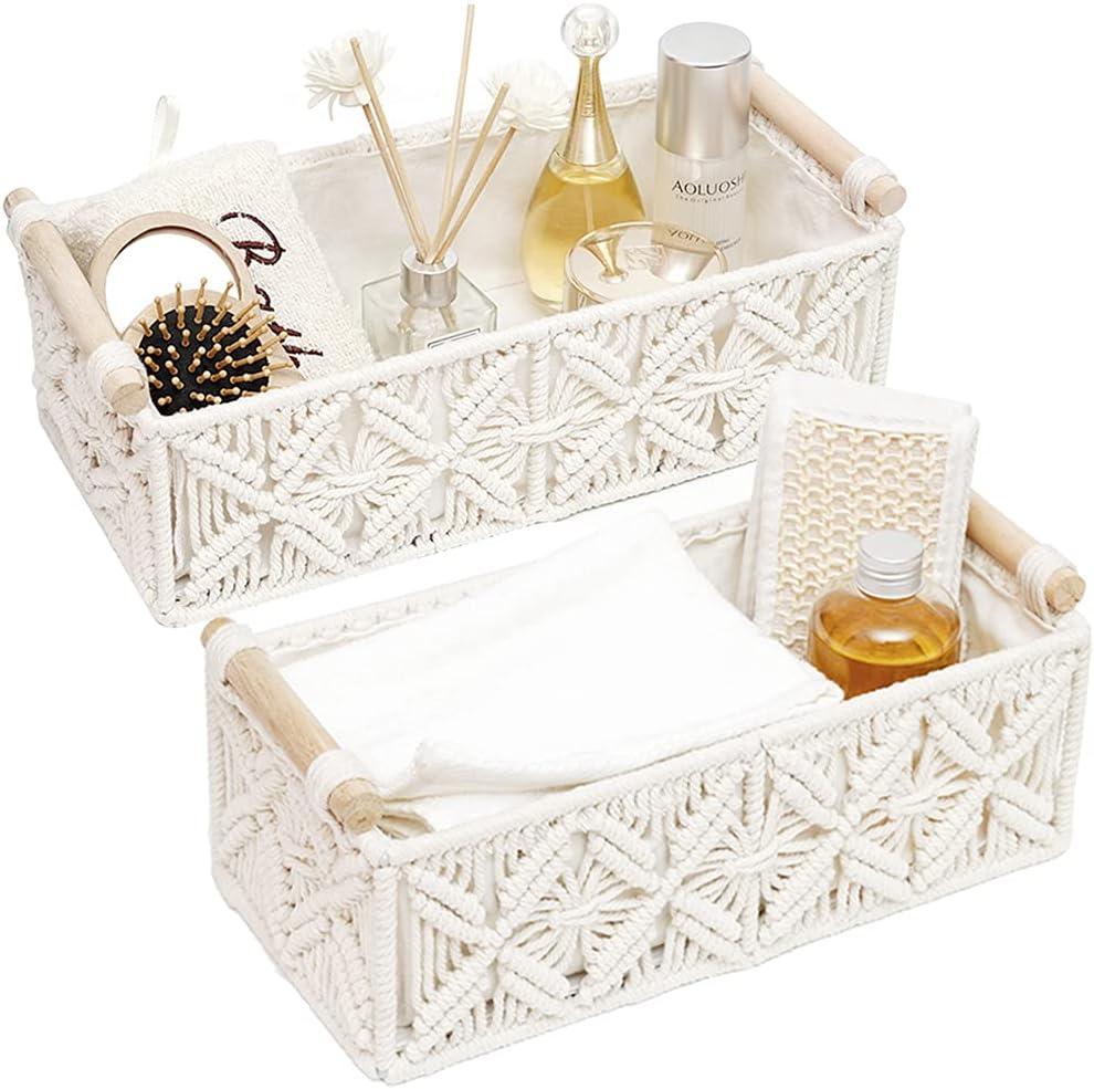 Macrame Storage Basket Boho Decor Baskets for Organizing Woven Decorative Basket for Countertop Toilet Paper Basket for Toilet Tank Top Shelf Basket with Handle for Bathroom Decor Bedroom Nursery Livingroom Entryway (Set of 2)