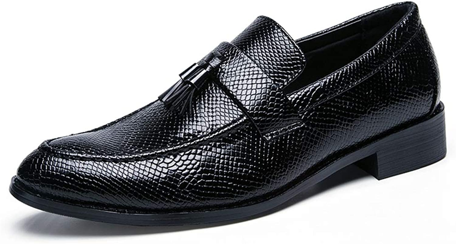 CHENXD shoes, Men's Casual Style Pointed Toe Business Oxford Snake Skin Pattern with Tassel Flat Heeled Leisure shoes