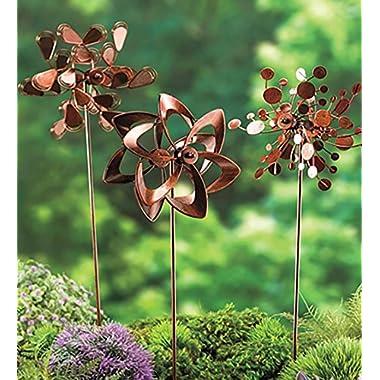 Set of 3 Metal Pinwheel Decorative Garden Stakes 7 L x 4.25 W x 22 H Copper Finish