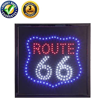 LED Route 66 Sign,Anrookie (19x19inch 110v On/Off withChain) Route 66 LED Lighted Sign Animated Mode,for Walls, Window, Gift,Home Decor