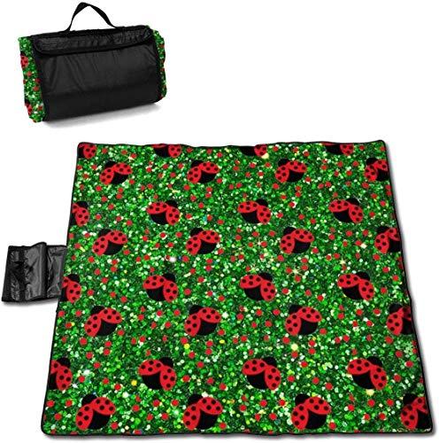 N/A Große wasserdichte Picknickdecke für den Außenbereich, nahtlos, gepunktet, roter Marienkäfer, Sanddicht, Strandmatte für Camping, Wandern, Gras und Reisen