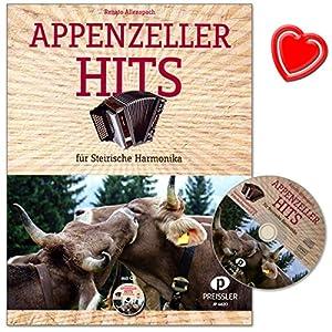 Appenzeller Hits – Bekannte Appenzeller Stücke für Steirische Harmonika in Griffschrift – Notenbuch von Renato Allenspach mit CD und bunter herzförmiger Notenklammer