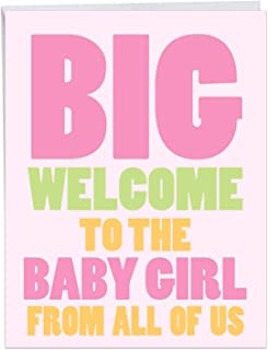 Big New Baby Girl - Newborn Baby Girl Greeting Card with Envelope (Large 8.5 x 11 Inch) - Big Bold Letters, Baby Shower Gift for Babies, Girls - Pregnancy Congrats Card From All of Us J6855BBG-US