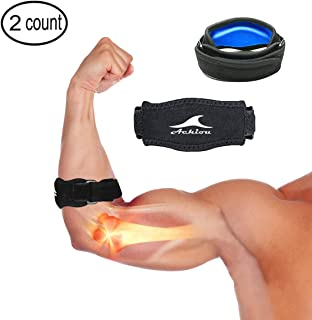 Achiou Tennis Elbow Brace for Tendonitis (2 Pack) with Compression Pad,Prevent Golfer's,Squash,Hyper Extension,Fishing,Weightlifting,Elbow Pain Relief,Includes One Adjustable Elbow Support Braces