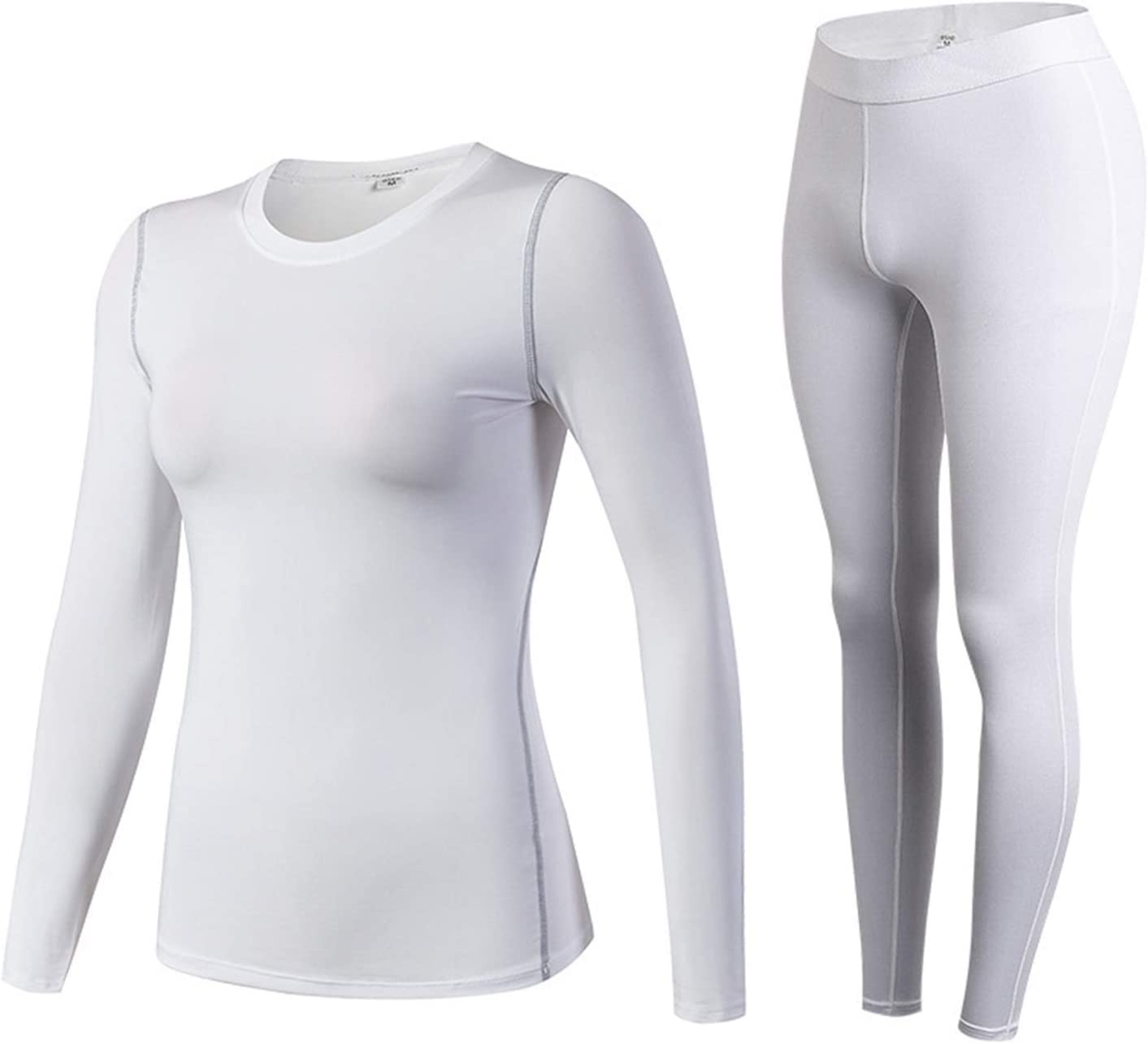 Glqwe O Neck Shirt Base Women Thermal Underwear Long Johns for Women Thermal Clothing Second Skin Winter Female Thermal Suit (Color : B Style White Set, Size : Small)