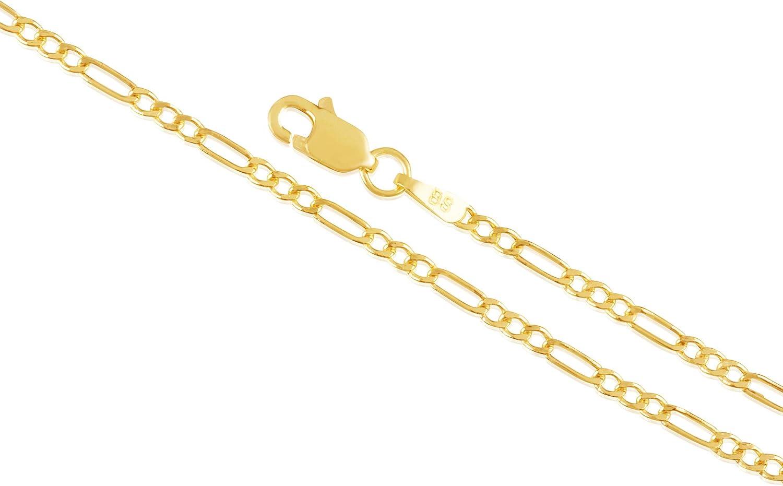 14K Gold 2MM Figaro Chain Necklace or Bracelet/Anklet for Men and Women (Unisex) Figaro Flat Link Gold Chain Necklace, 14K Gold Necklace, 14K Figaro Chain, 14K Gold Chain 14