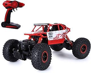 SKM 2.4GHz 1:18 Coche RC Radiocontrol Teledirigido Escalada Camión de Juguete 4WD Roca Rastreador Todoterreno Carrera (Rojo con USB Cable)