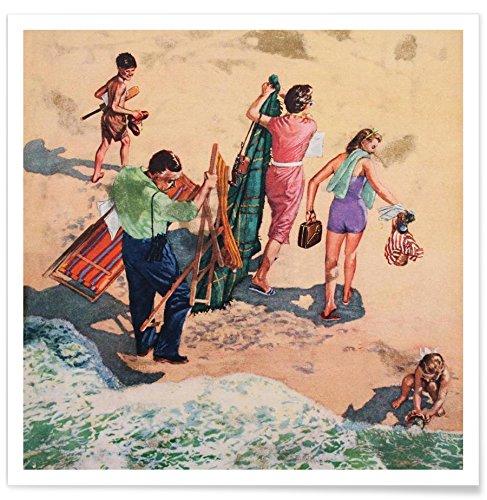 "Juniqe® Retro Gruppen Poster 20x20cm - Design ""Family at The Seaside"" entworfen von Hemingway Design"