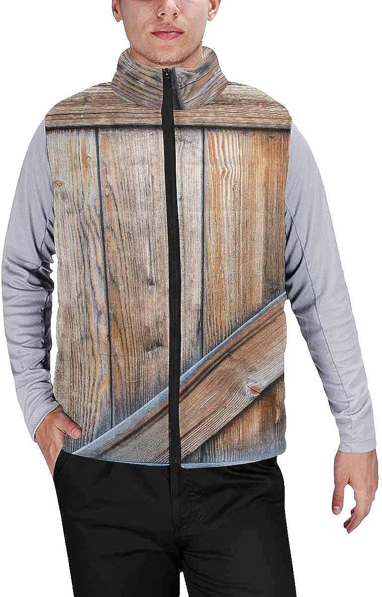 InterestPrint Men's Soft Full Zip Sleeveless Jacket for Running, Hiking Old Wooden Door