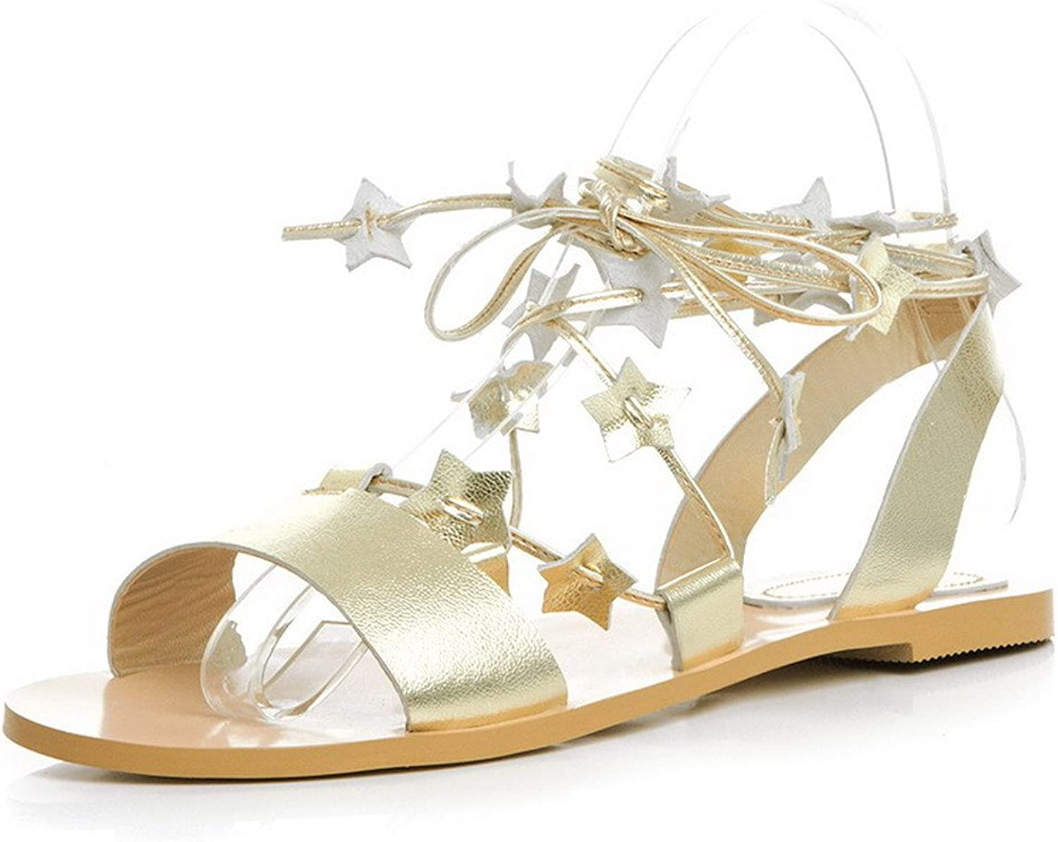 AmoonyFashion Women's Cow Leather Solid Lace-Up Open-Toe No-Heel Sandals