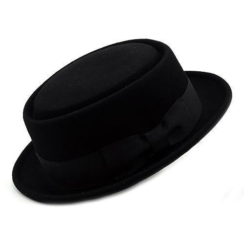 NYFASHION101 Mens Crushable Wool Felt Porkpie Hat w Feather 139eb98cdb8