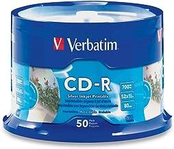 Verbatim CD-R 700MB 52X Silver Inkjet Printable 50pk Spindle (Renewed)