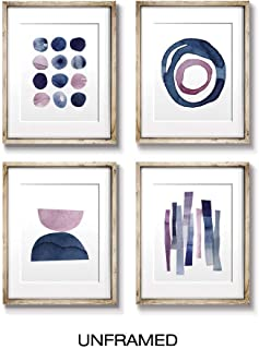 Wall Art   Wall Art Prints   Abstract Pink and Blue Watercolor Paintings   Digital Prints   Home Decor Accents   Home Decorations   8X10   Set of 4   Unframed