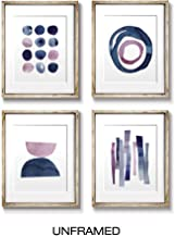 Wall Art | Wall Art Prints | Abstract Pink and Blue Watercolor Paintings | Digital Prints | Home Decor Accents | Home Decorations | 8X10 | Set of 4 | Unframed