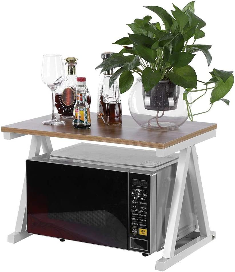 2 Tier Microwave Stand Storage Rack, Microwave Oven Stand Storage Rack Kitchen Cabinet Counter Shelf Organizer(White)
