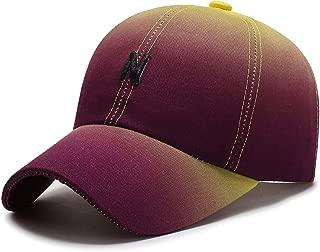 ROWILUX Women's Stylish Gradient Color Baseball Hat Letter Embroidery Sun Cap Adjustable