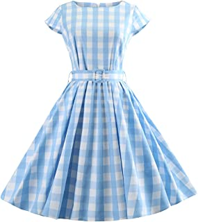 Women Plaid Pleated Waist Swing 1950s Vintage Dress with Pocket