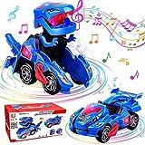 Dinosaurier Transformers Auto, GUBOM Transforming Dinos Car, Transforming Dinosaur Car mit LED Licht und Musik, Transformers Spielzeug Dinosaurier Geschenke für Kinder 3-10 Jahre (Blau)