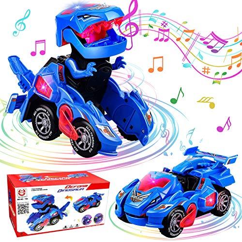 Dinosaurier Spielzeug, GUBOOM Transformers Spielzeug, Kinder Auto Spielzeug, Transformer Dinosaurier led Auto Dynocar, Dinosaurier Transformer Spielzeug mit LED Licht und Musik (Blau)
