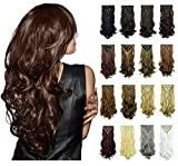 FESHFEN 20 inch 7Pcs 16Clips Full Head Clip in Hair Extensions Long Curly