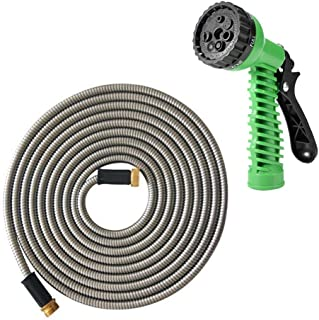 """MTB 304 Stainless Steel Garden Hose 50-ft with Spray Nozzle and 3/4"""" Solid Aluminum Connectors, Metal Water Hose…"""