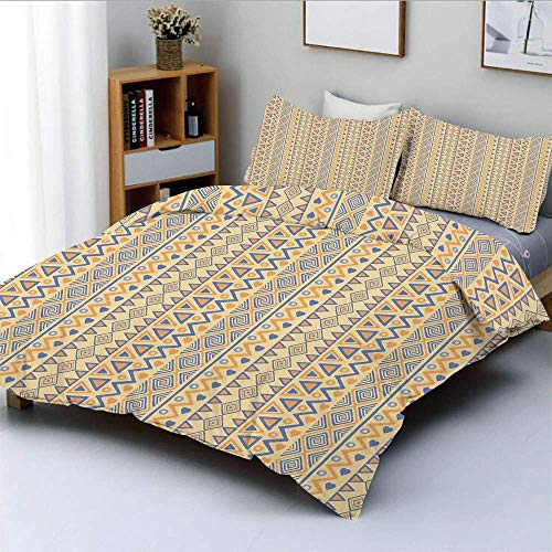 Jojun Duvet Cover Set,Prehistoric Stripes Native American Form Indie Ritual Hunting Aboriginal Wild ArtDecorative 3 Piece Bedding Set with 2 Pillow Sham,Yellow Blue,Best Gift For Kid Easy Care Ant