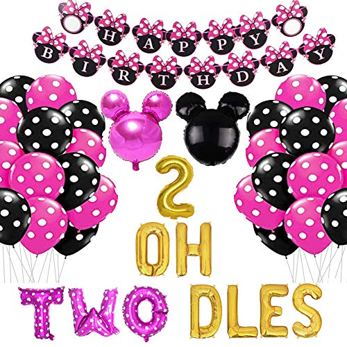 Geloar Minnie 2nd Birthday Party Supplies, Oh Twodles Birthday Balloons Minnie Mouse Happy Birthday Banner Party Supplies Number 2 Balloon for 2nd Second Girl Minnie Mouse Birthday Party Decoration
