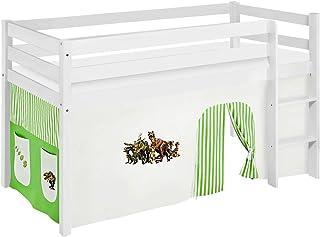 Lilokids Lit Mezzanine JELLE Dinos-Vert -lit d'enfant Blanc - avec Rideau - lit 90x190 cm