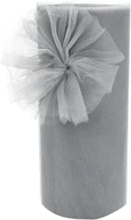 Tulle Rolls Gray Tulle Fabric Bolt Spool for Wedding Decorations Engagement Birthday Party Baby Shower Cake Tutus Table Tutu Skirts Curtain Home Decor(Gray,6 inch by 25 Yard)