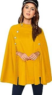 MAKEMECHIC - Poncho Elegante con Capa y Mangas de Doble botón para Mujer, Ginger, XS