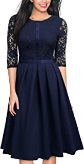 Women's Vintage Half Sleeve Floral Lace Cocktail Party Pleated Swing Dress¡­