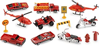 Kicko Rescue Vehicles Emergency Fire Set - 15 Piece Vehicles Including Helicopters, Motorcycles, Recovery Vehicles, Road Sign, Fire Truck, Fire Hydrant, Pickup Truck, Barricade and Cone