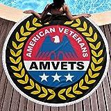 DGTY Manta de Toalla de Playa Redonda Gruesa -American Veterans Amvets Alfombra Circular Circular Grande