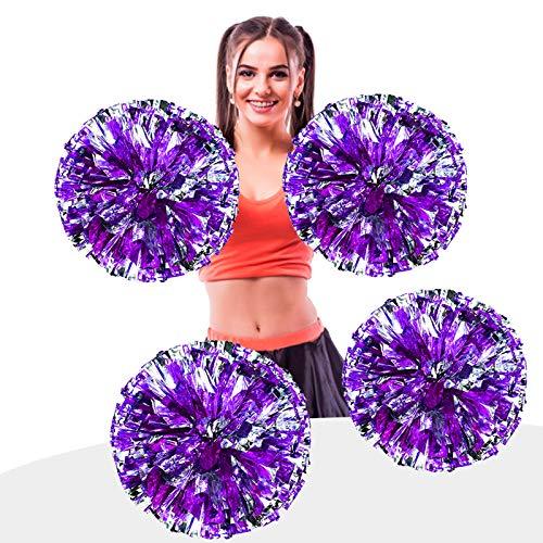 AUHOTA 4 Stück Metallfolie Cheerleading Pom Poms, Cheerleader Pompons Handblumen zum Sport Cheers Ball Dance Kostüm Nacht Party Team Spirit (6 Zoll) (Lila/Silber)