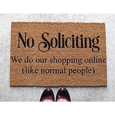 """No Soliciting Doormat Outdoor, Funny Door Mats Outdoor, Trendy Door Mat Fun Design, Coir 15x23"""""""