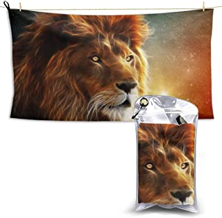 Cool Lion Sunset King Microfiber Beach Towel Compact Quick Dry Super Absorbent Lightweight All Purpose Towel Sand Free Towel for Travel Yoga Gym Swim Hiking,Camping & Bath