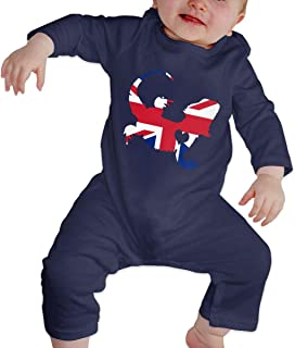 British Flag Bearded Dragon Silhouette Baby Girls' Long Sleeved Coveralls One Piece Infant Long Sleeve Romper Jumpsuit