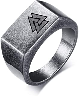 NJ Viking Jewelry Men Rings - Stainless Steel Antique Silver Norse Viking Rings Valknut Scandinavn Odin Nordic Rune Signet Band for Dad,Son,Boyfriend,Husband,Size 8-12