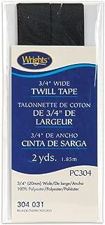 Wrights 117-304-031 Twill Tape, Black, 2-Yard